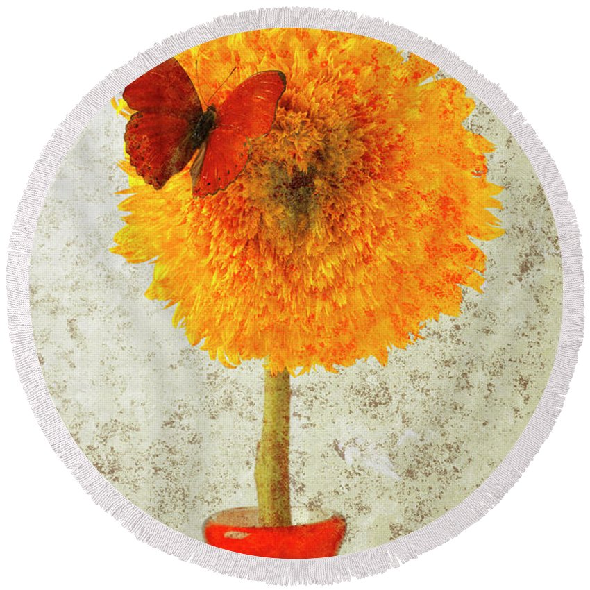 Red Butterfly Sunflower Yellow Abstract Round Beach Towel featuring the photograph Sunflower And Red Butterfly by Garry Gay