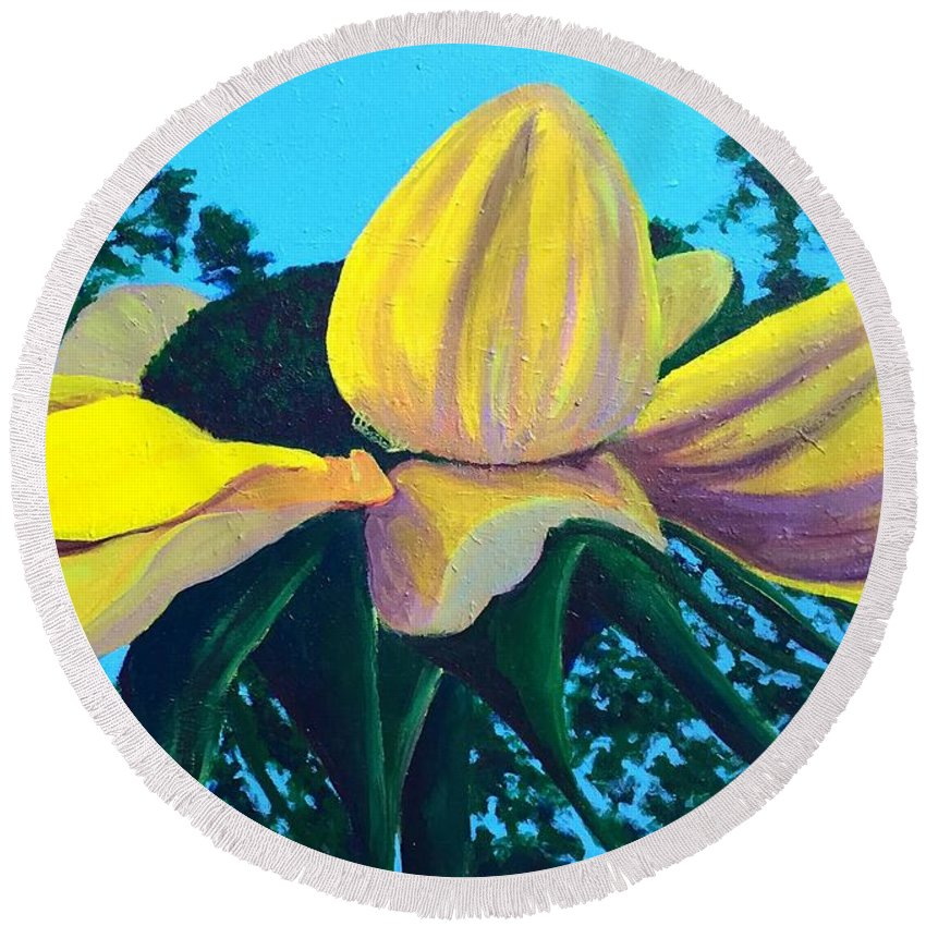 Landscape Round Beach Towel featuring the painting Sunflower And Spider by Kristine Vander Velde