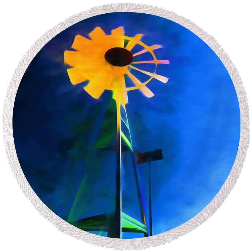 Sunflower Round Beach Towel featuring the painting Sunflower And The Wind Spirit by Jim Buchanan
