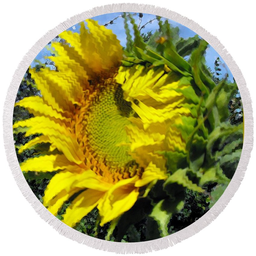 Kansas Round Beach Towel featuring the photograph Sunflower By Design by Concolleen's Visions Smith