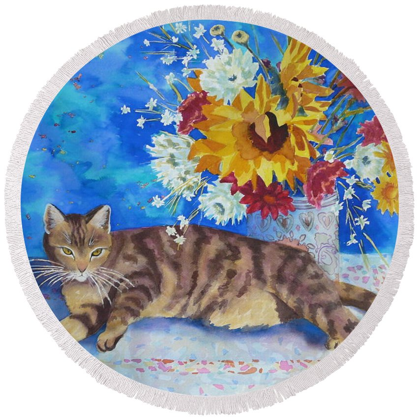 Flowers Round Beach Towel featuring the painting Sunflower Cat by Yvonne Ankerman