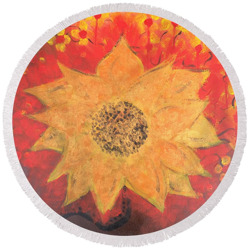 Round Beach Towel featuring the painting Sunflower by Cynthia Williams
