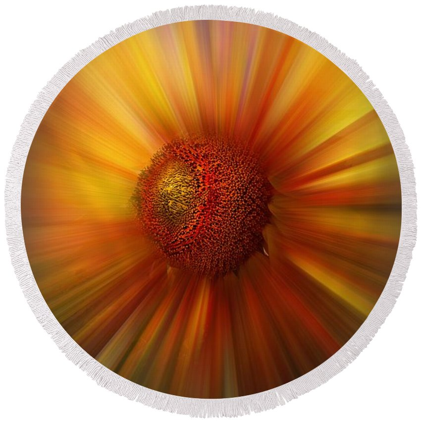 Abstract Round Beach Towel featuring the photograph Sunflower Dawn Zoom by Debra and Dave Vanderlaan