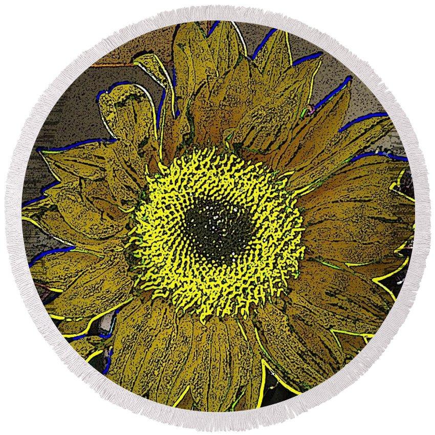 Sunflower Round Beach Towel featuring the digital art Sunflower Dreaming by Tim Allen