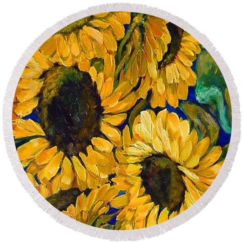 Flowers Round Beach Towel featuring the painting Sunflower Faces by Beverly Boulet