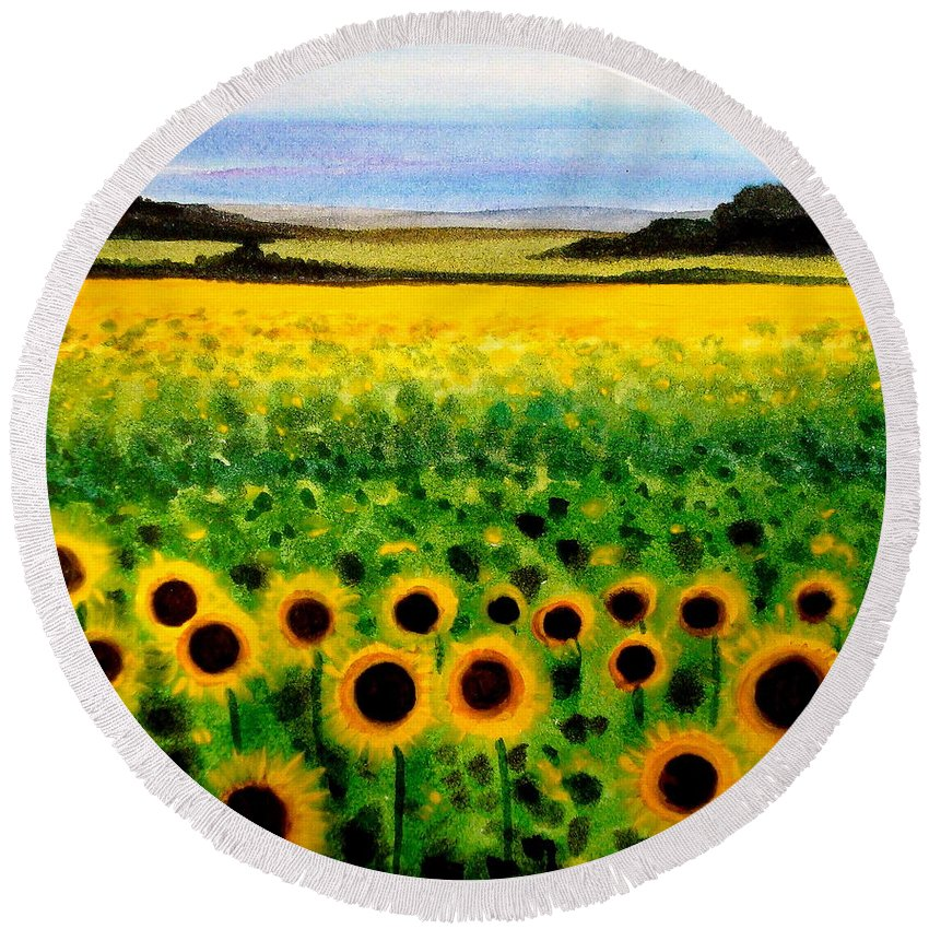 Landscape Round Beach Towel featuring the painting Sunflower Field by Elizabeth Robinette Tyndall