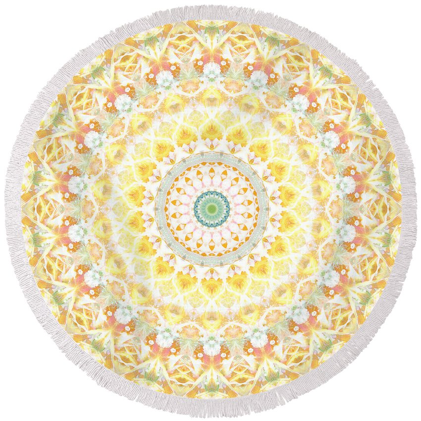 Sunflower Round Beach Towel featuring the painting Sunflower Mandala- Abstract Art By Linda Woods by Linda Woods