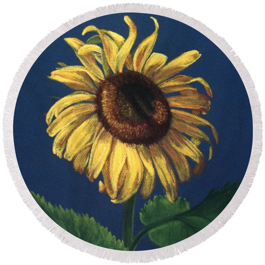 Flower Round Beach Towel featuring the painting Sunflower by Melissa Joyfully