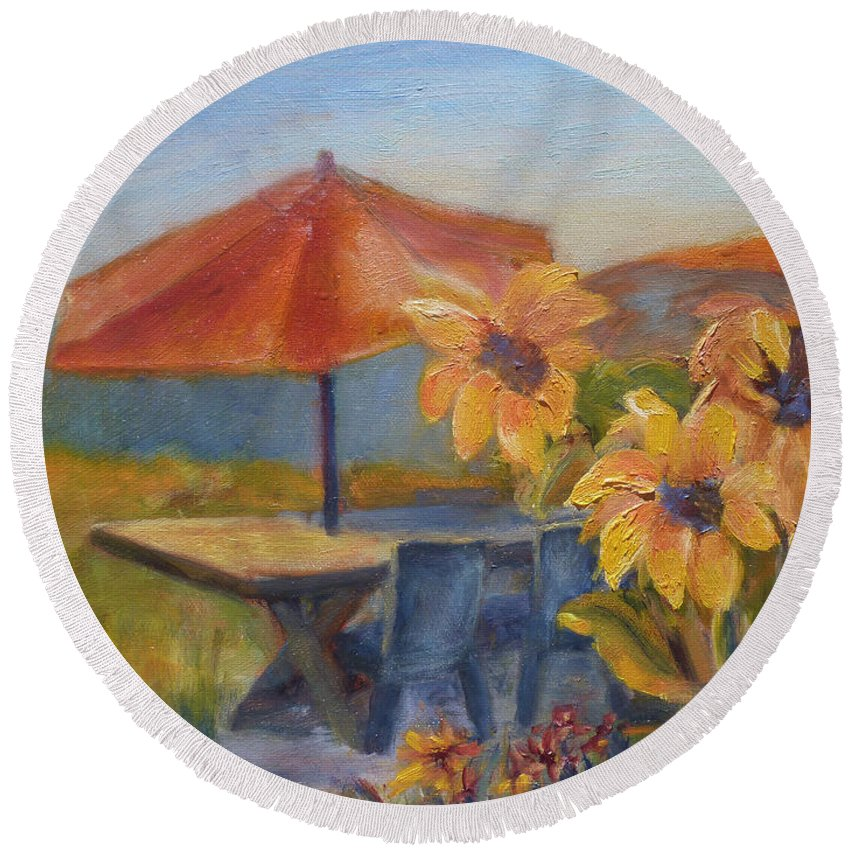 Sunflower Round Beach Towel featuring the painting Sunflower Picnic by Carolyn Jarvis