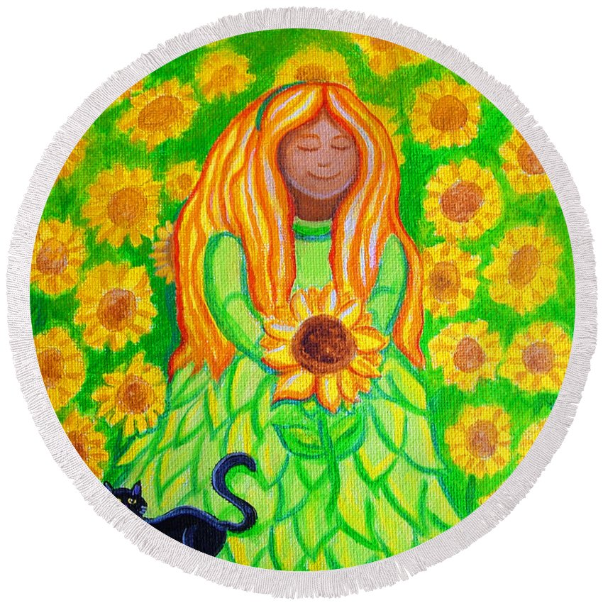 Sunflower Princess Round Beach Towel featuring the painting Sunflower Princess by Nick Gustafson