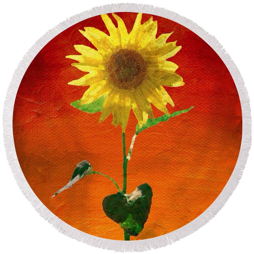 Abstract Round Beach Towel featuring the painting Sunflower Summer by Mark Taylor