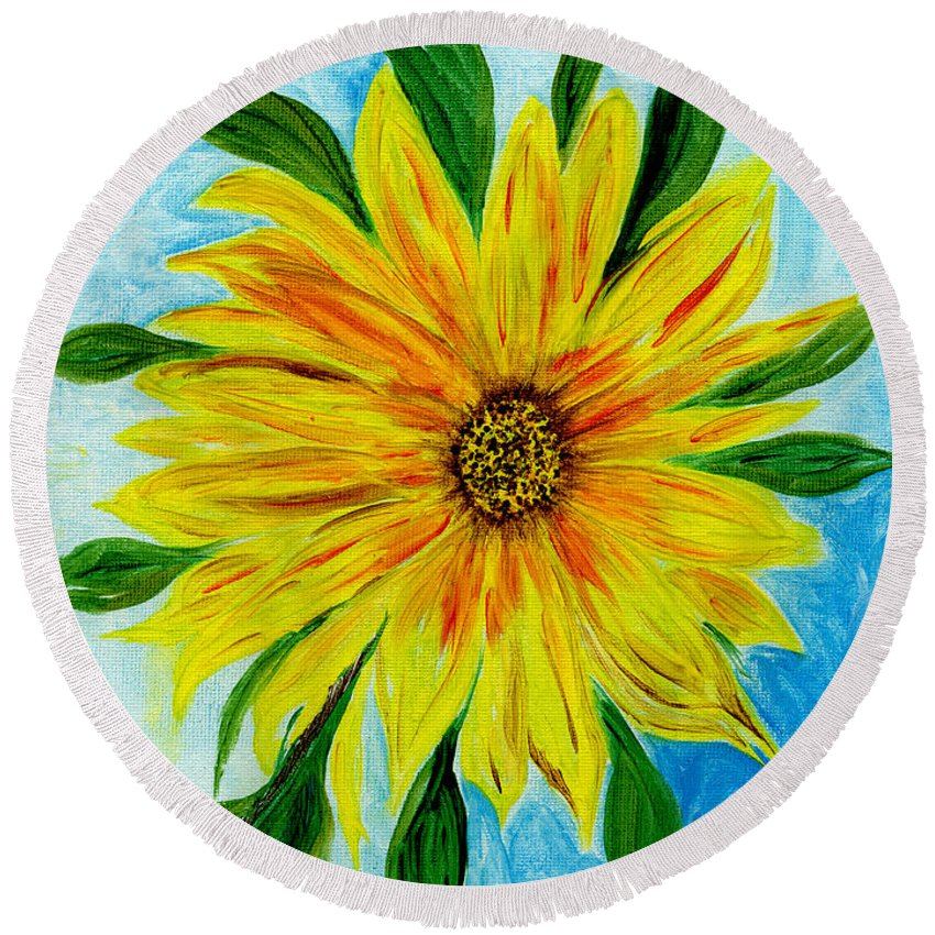 Sunflower Round Beach Towel featuring the painting Sunflower Sunshine Of Your Love by Anne Gitto