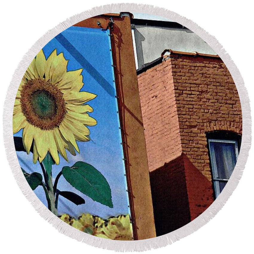Building Round Beach Towel featuring the photograph Sunflower Town by Sarah Loft