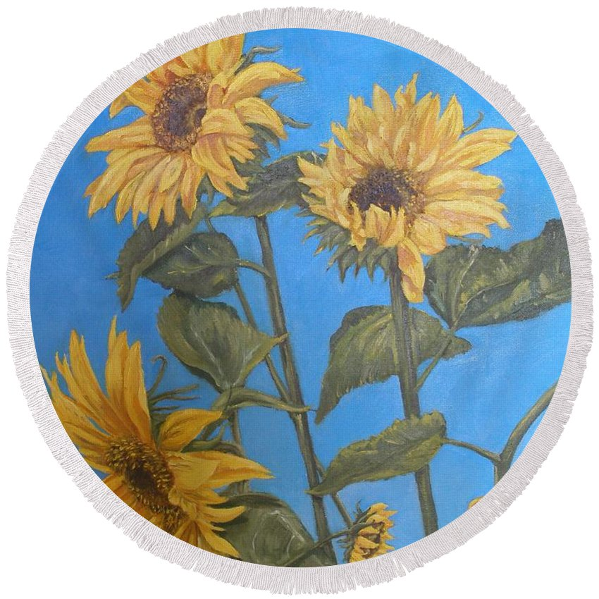 Sunflower Round Beach Towel featuring the painting Sunflower by Travis Day