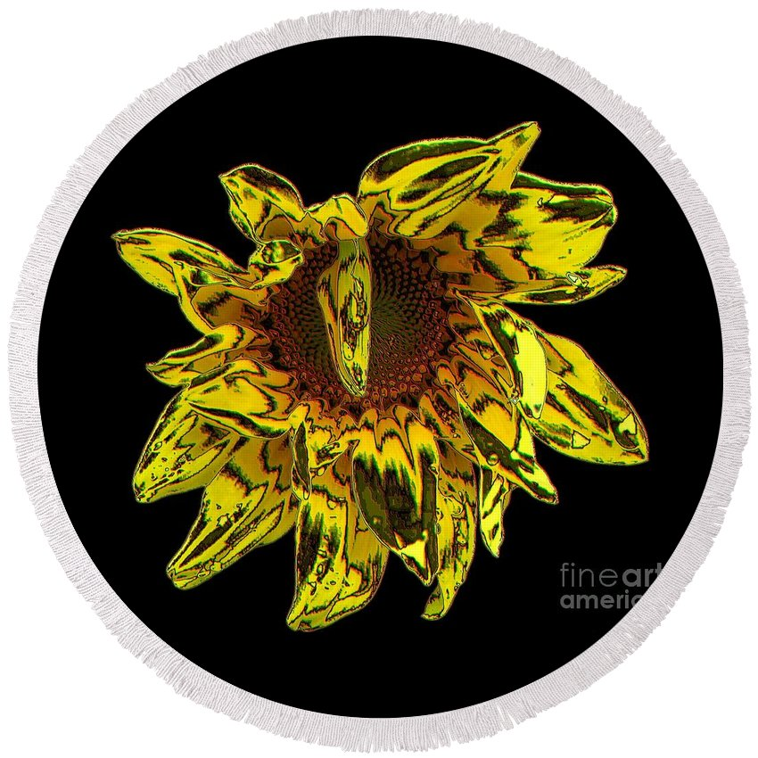 Sunflowers Round Beach Towel featuring the photograph Sunflower With Stone Effect by Rose Santuci-Sofranko