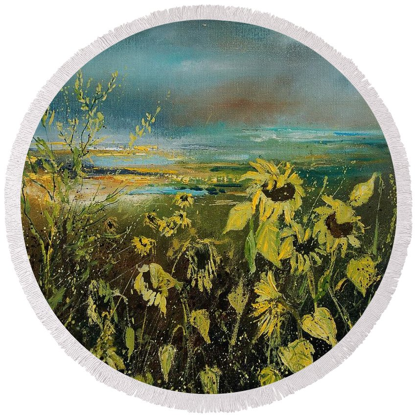 Flowers Round Beach Towel featuring the painting Sunflowers 562315 by Pol Ledent