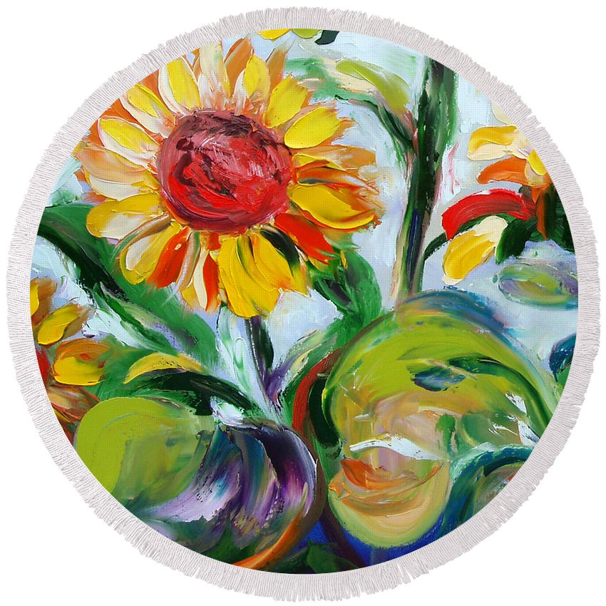 Flowers Round Beach Towel featuring the painting Sunflowers 9 by Gina De Gorna