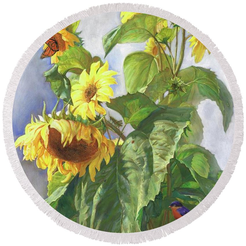 Sunflower Round Beach Towel featuring the painting Sunflowers After The Rain by Svitozar Nenyuk