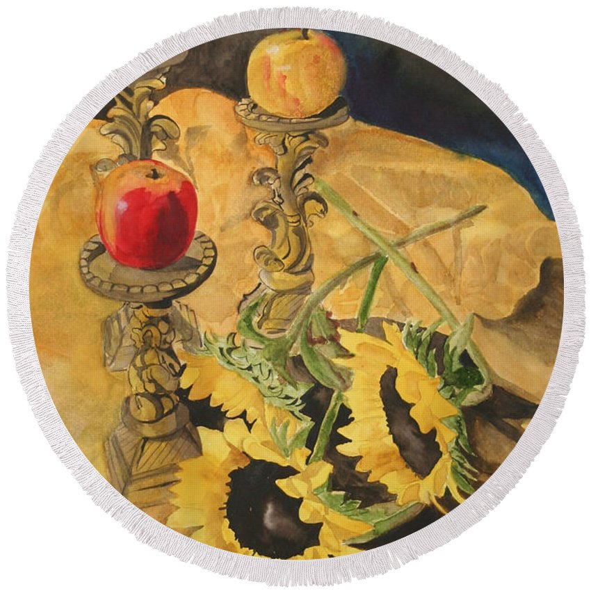 Still Life Round Beach Towel featuring the painting Sunflowers and Apples by Jean Blackmer