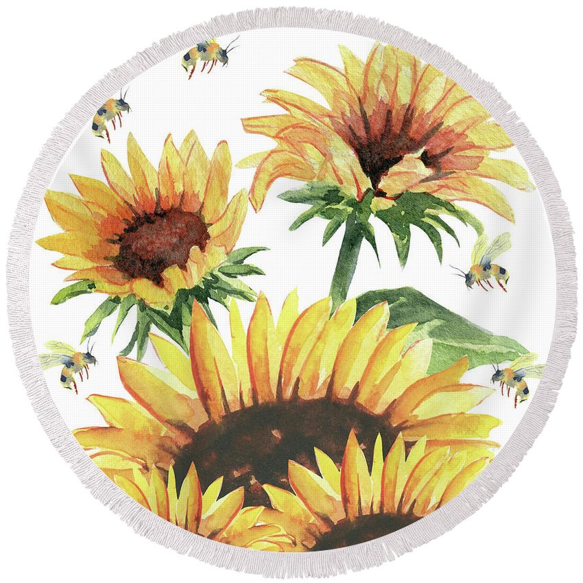 Sunflower And Honey Bees Round Beach Towel featuring the painting Sunflowers And Honey Bees by Melly Terpening