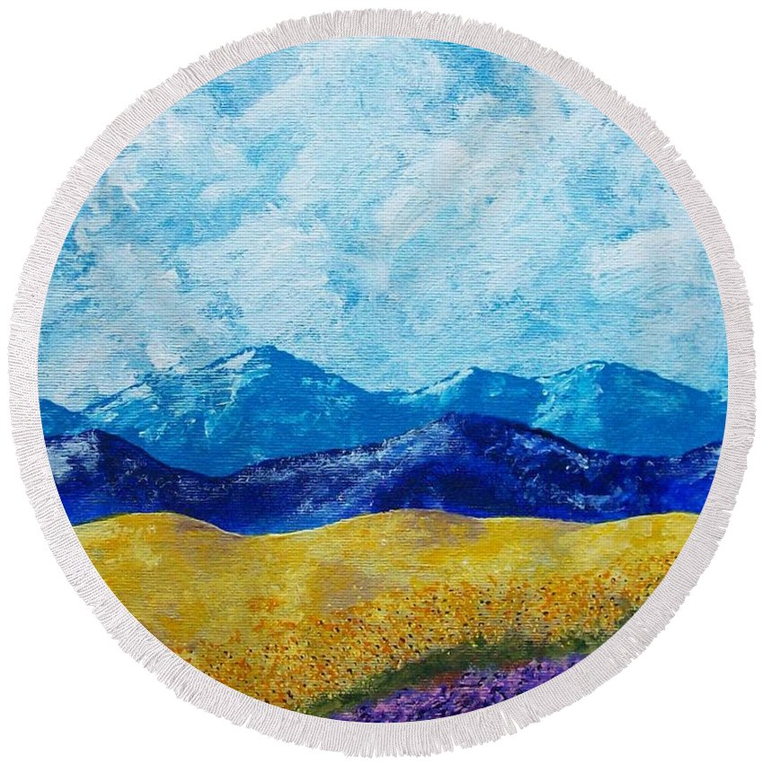 Art & Collectibles Painting Acrylic Provence France Mediterranean Art French Countryside Landscape Painting Lavender Fields Mountain Scenery Hillside Painting Tree Artwork Purple Home Decor Modern Green Design Yellow Artwork Blue Modern Design Sunflowers Round Beach Towel featuring the painting Sunflowers And Lavender In Provence by Mike Kraus