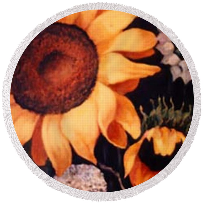Sunflowers Paintings Round Beach Towel featuring the painting Sunflowers And More Sunflowers by Jordana Sands