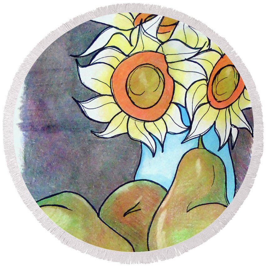 Sunflowers Round Beach Towel featuring the drawing Sunflowers And Pears by Loretta Nash