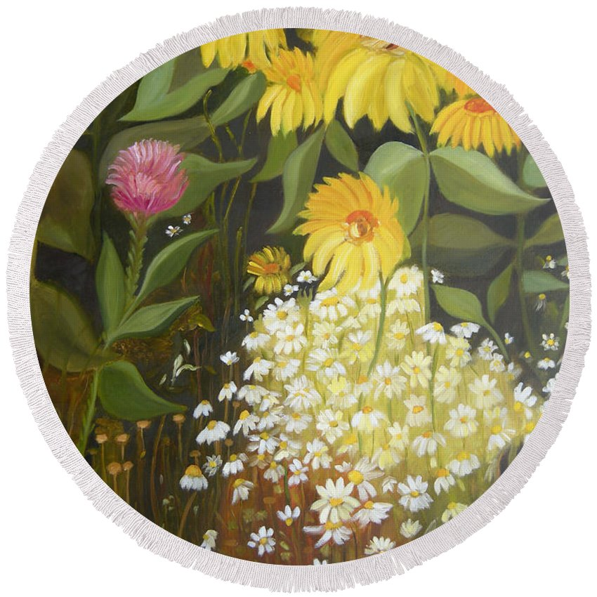 Landskape Round Beach Towel featuring the painting Sunflowers by Antoaneta Melnikova- Hillman