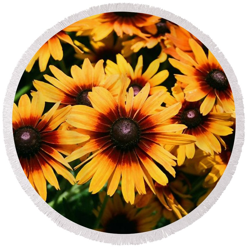 Sunflowers Round Beach Towel featuring the photograph Sunflowers by Dean Triolo