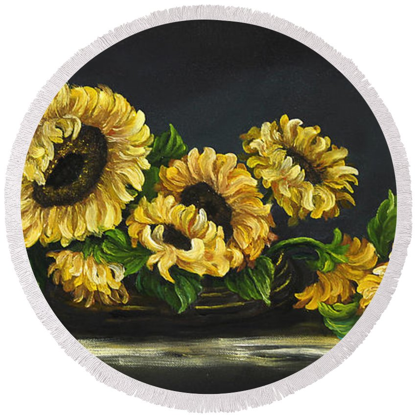 Flower Round Beach Towel featuring the painting Sunflowers From The Garden by Johanna Lerwick