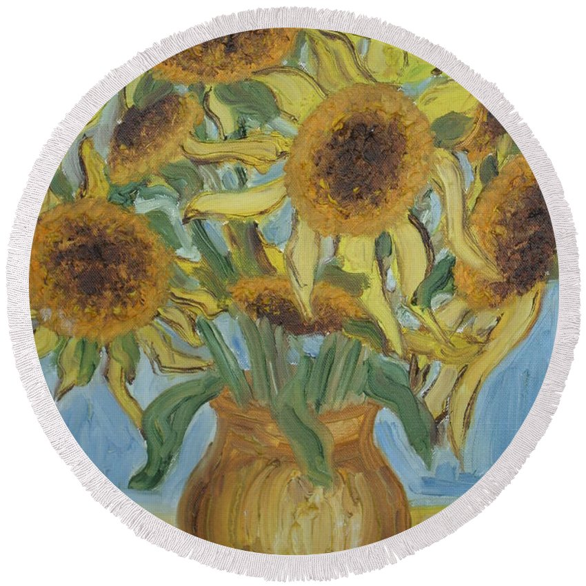 Flowers Round Beach Towel featuring the painting Sunflowers II. by Agnes V