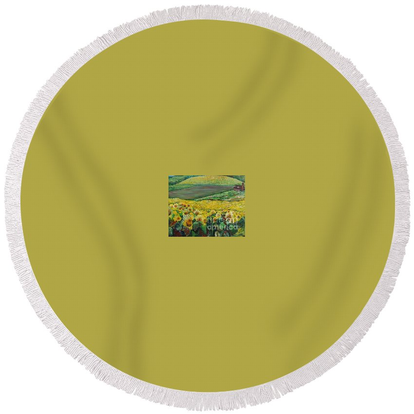A Field Of Yellow Sunflowers Round Beach Towel featuring the painting Sunflowers In Provence by Nadine Rippelmeyer
