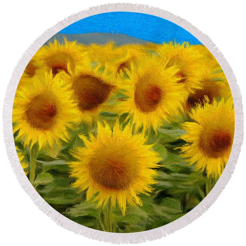Sunflower Round Beach Towel featuring the painting Sunflowers In The Field by Jeffrey Kolker