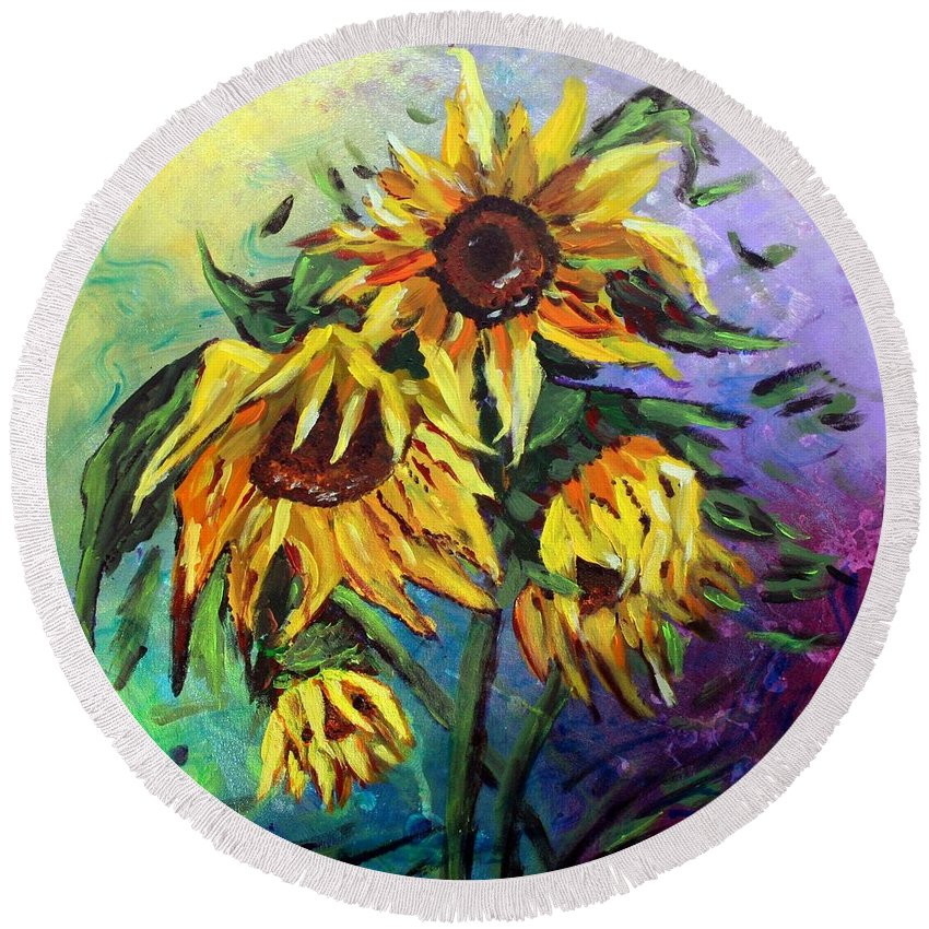 Art Round Beach Towel featuring the painting Sunflowers In The Rain by Luiza Vizoli