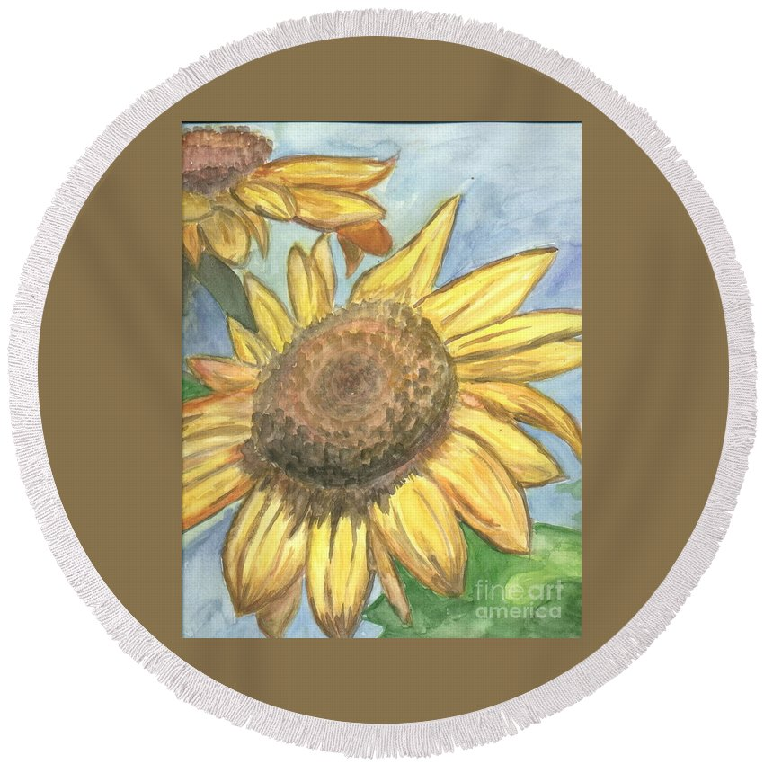 Daisy Round Beach Towel featuring the painting Sunflowers by Jacqueline Athmann
