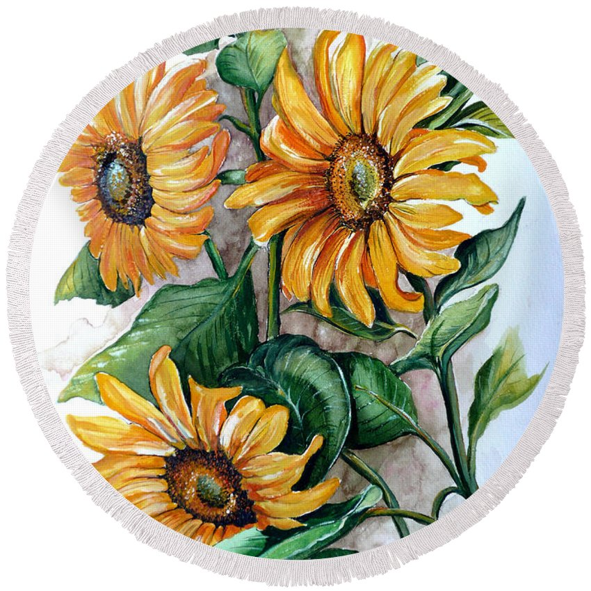 Flower Paintings Yellow Flower Paintings Floral Paintings Botanical Paintings  Sun Flower Paintings Greeting Card Paintings Canvas Paintings Prints Paintings  Round Beach Towel featuring the painting Sunflowers by Karin Dawn Kelshall- Best