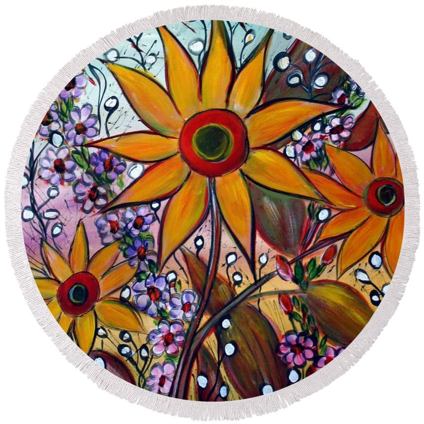 Flowers Round Beach Towel featuring the painting Sunflowers by Luiza Vizoli