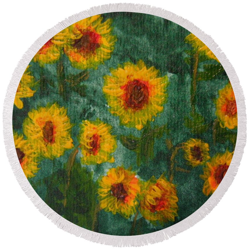 Acrylic Round Beach Towel featuring the painting Sunflowers by Lynne Reichhart