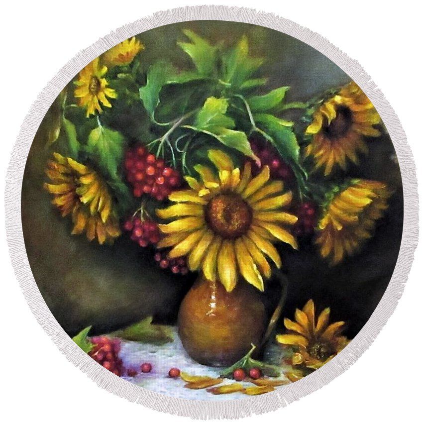 Berries Round Beach Towel featuring the painting Sunflowers oil canvas painting by Natalja Picugina