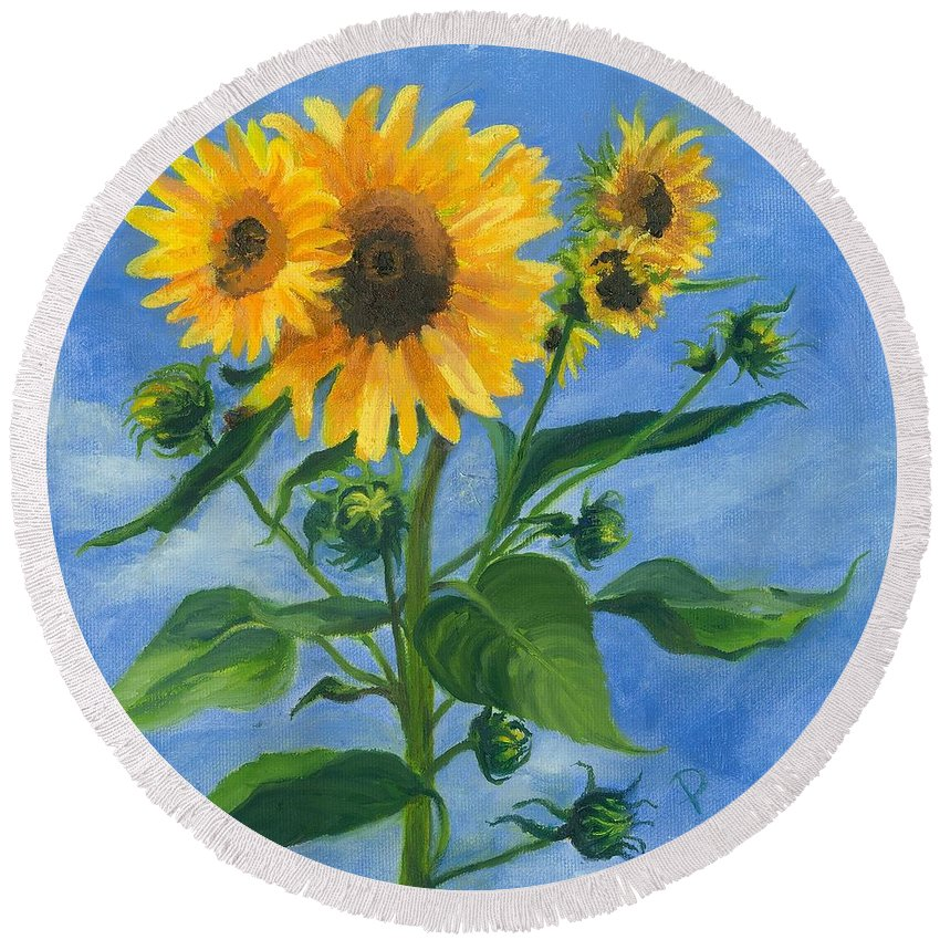 Flowers Round Beach Towel featuring the painting Sunflowers On Bauer Farm by Paula Emery