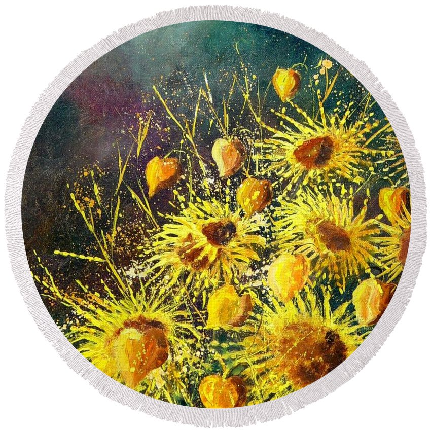 Flowers Round Beach Towel featuring the painting Sunflowers by Pol Ledent
