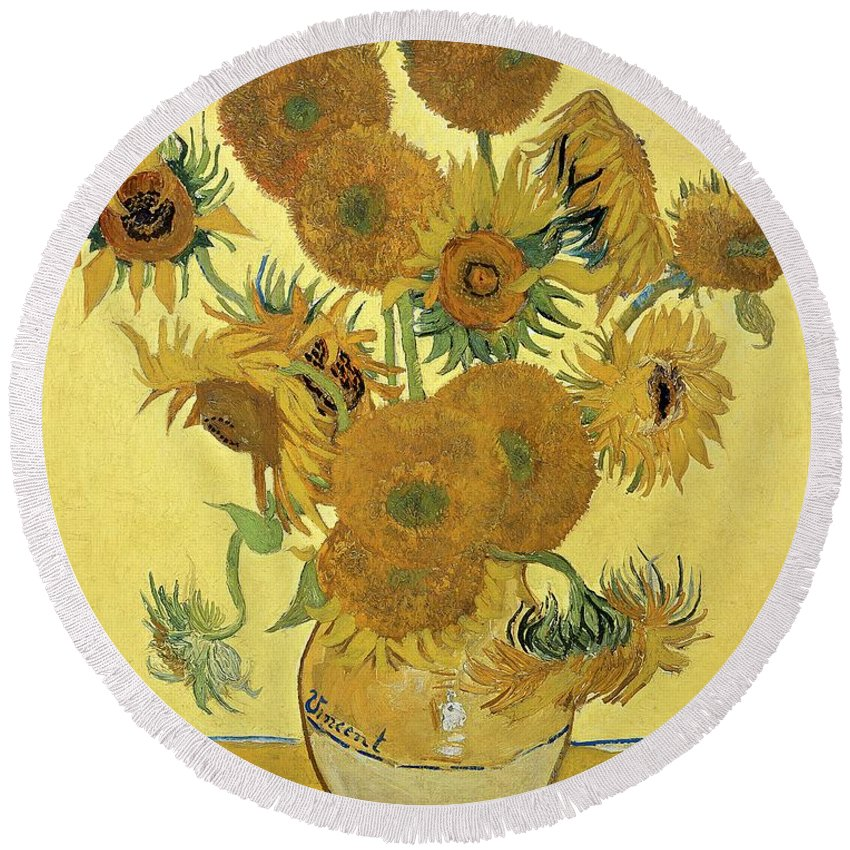 Sunflowers Round Beach Towel featuring the painting Sunflowers, 1888 by Vincent Van Gogh