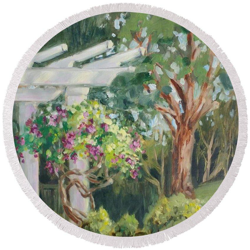 Landscape Round Beach Towel featuring the painting Sunken Garden by Cathleen Larson