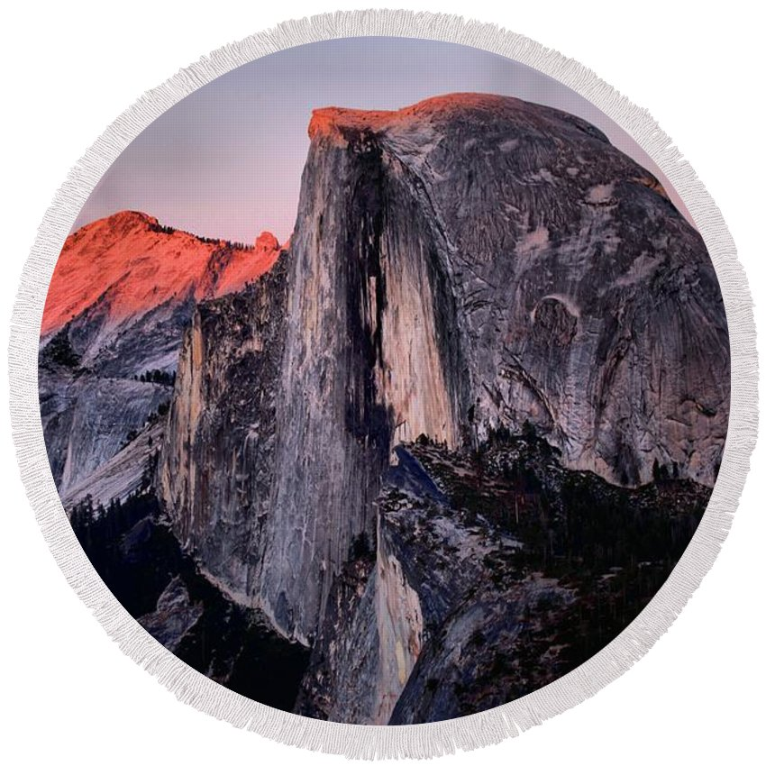 Half Dome Round Beach Towel featuring the photograph Sunkiss On Half Dome by Adam Jewell