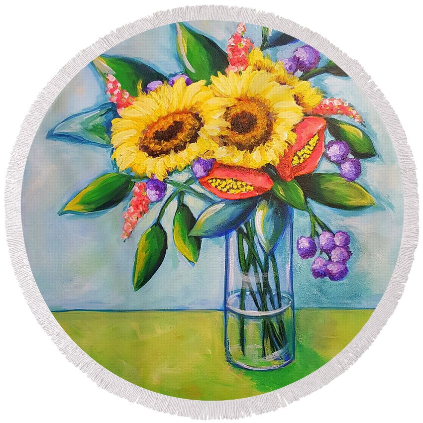 Sunflowers Round Beach Towel featuring the painting Sunkissed by Sandra Lett