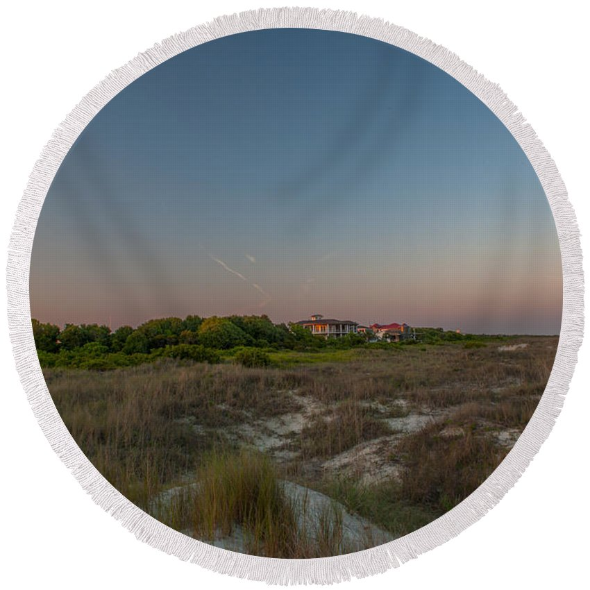 Sullivan's Island Lighthouse Round Beach Towel featuring the photograph Sunkissed Twilight by Dale Powell