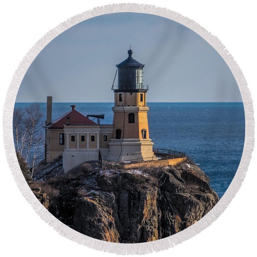Split Rock Lighthouse Round Beach Towel featuring the photograph Sunlight On Split Rock Lighthouse by Paul Freidlund
