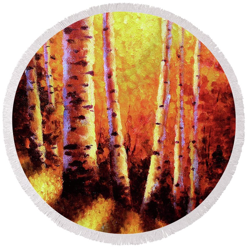 Sunlight Round Beach Towel featuring the painting Sunlight Through The Aspens by David G Paul