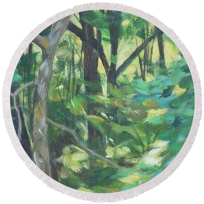 Tree Round Beach Towel featuring the painting Sunlit Backyard by Claire Gagnon
