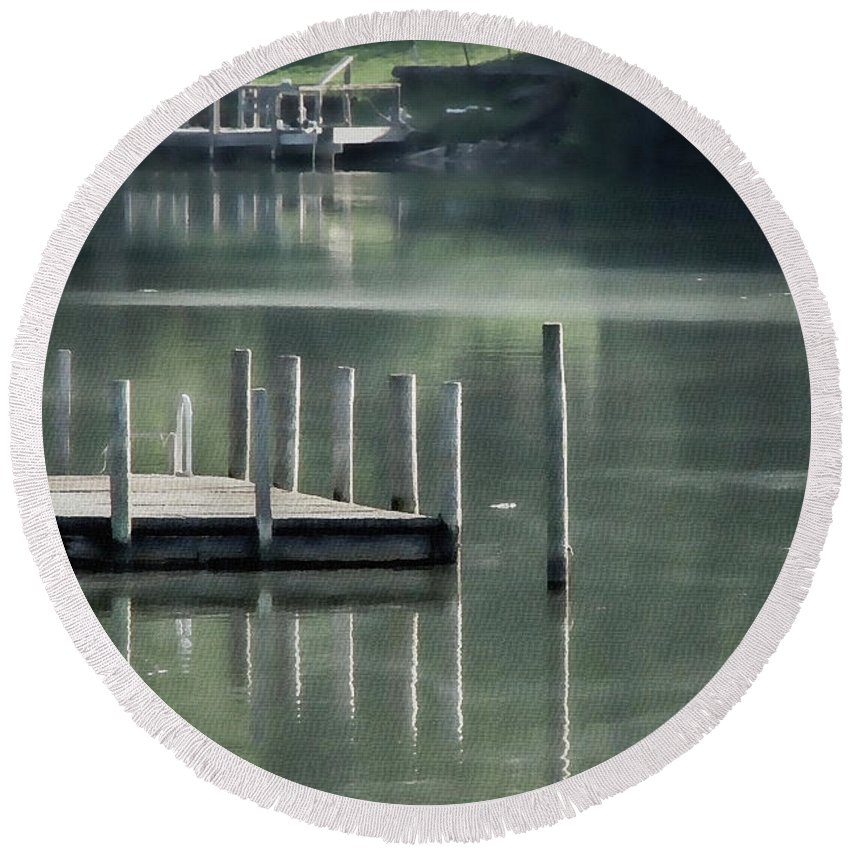 Dock Round Beach Towel featuring the photograph Sunlit Dock by Todd A Blanchard